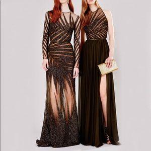 $14175 Elie Saab Palm Leaf Embellished Gown